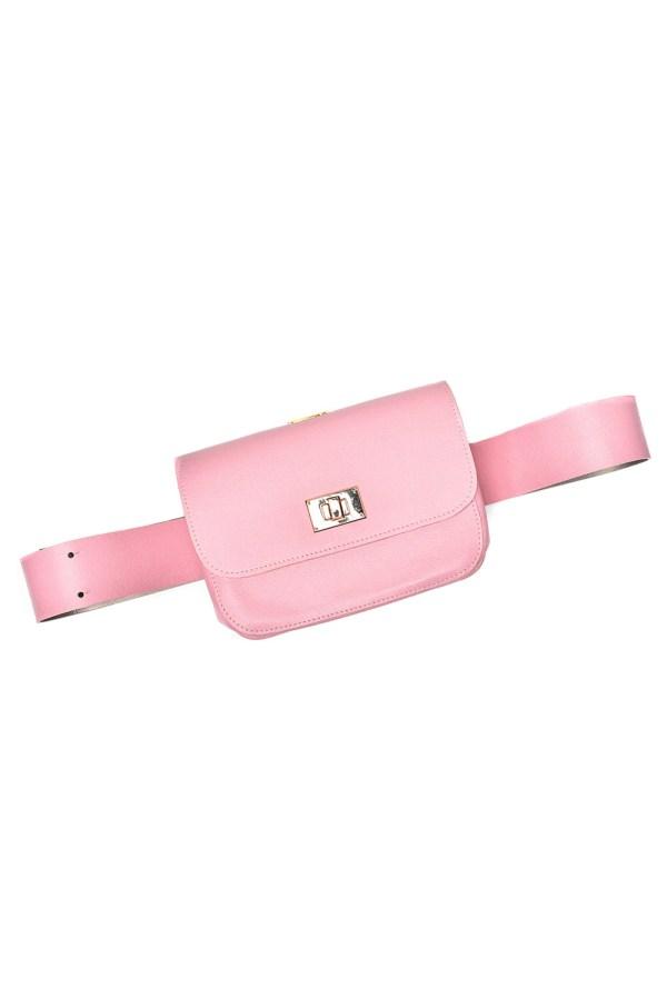 BELT BAG PLIK Pale pink Saffiano