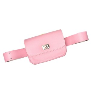 BELT BAG PLIK Pale pink Saffiano