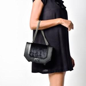 PLIK LOLA Black Saffiano Black Pony knitted