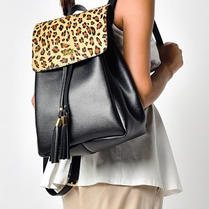 BACKPACK PLIK Black Saffiano Leo Pony