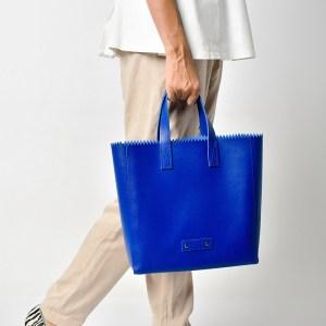 PAPER PLIK Mini Blue Saffiano