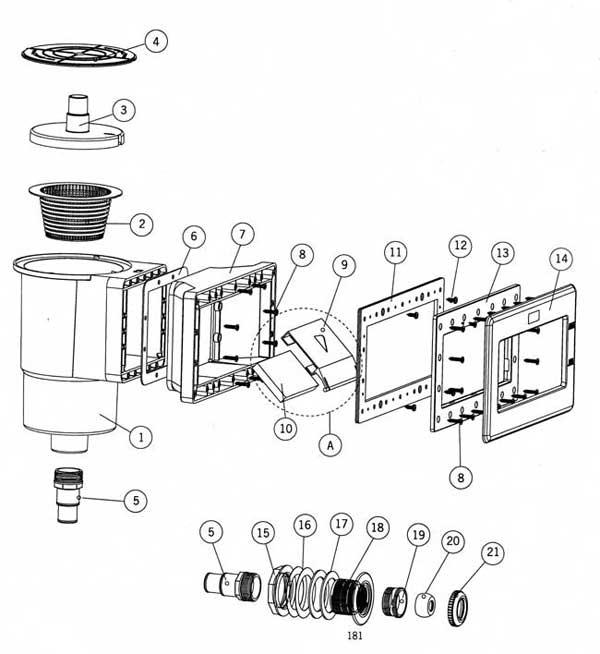Astral Above Ground Wide Mouth Vinyl Skimmer Parts List