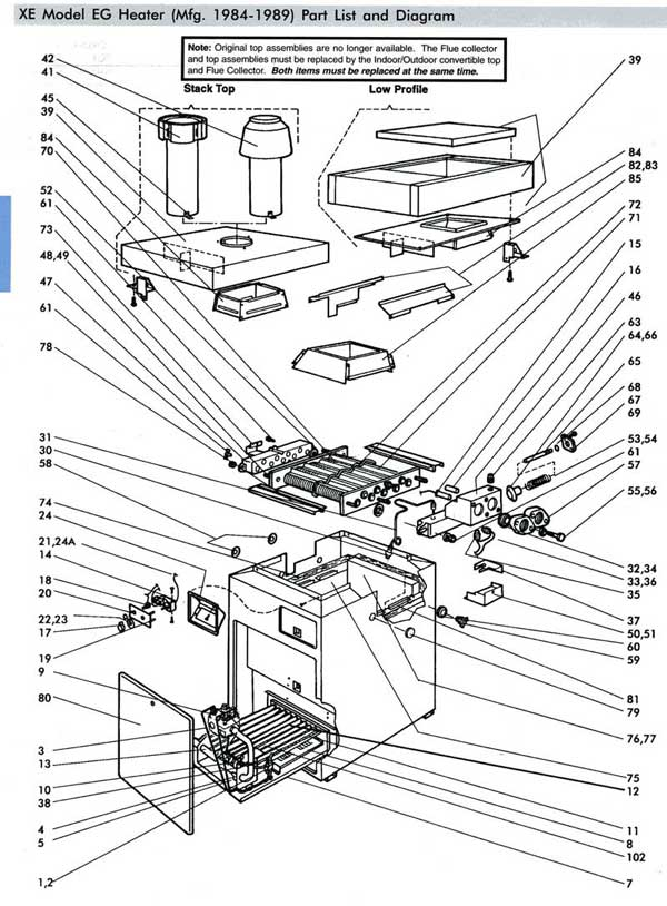 Jandy, Teledyne Laarsa XE2 Pool Heater Parts List