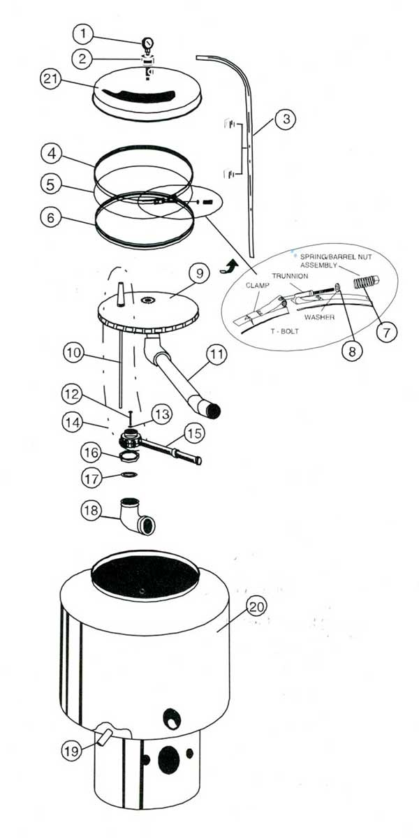 American Products, SandPiper 30 Inch Filter Parts Diagram