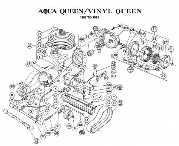Aqua Queen, Vinyl Queen Chasis Motor, Parts Diagrams