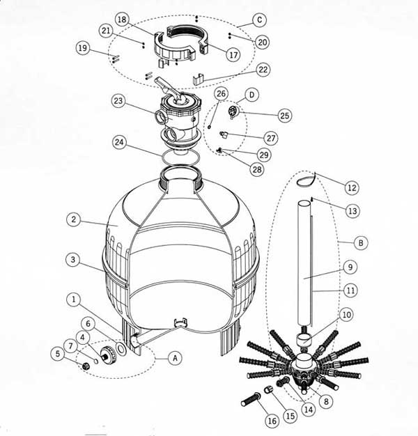 Astral Cantabric Model 3030TS-2 Sand Filter, Parts List