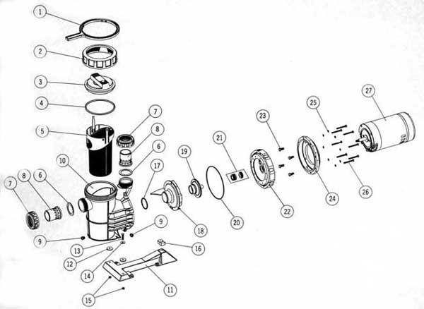 Astral Sprint 2000, Pool Pump Parts List