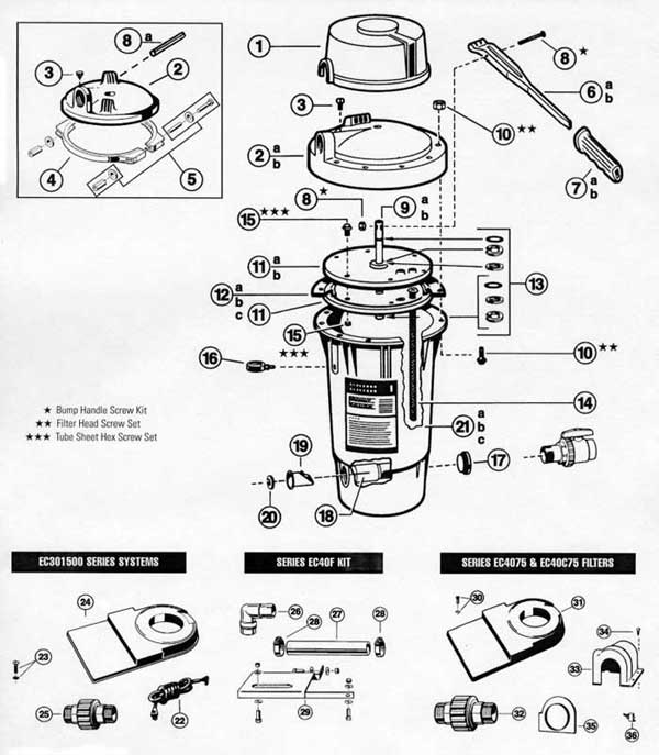 Hayward Perflex Filter Parts, EC40 Filter, EC40 Filter