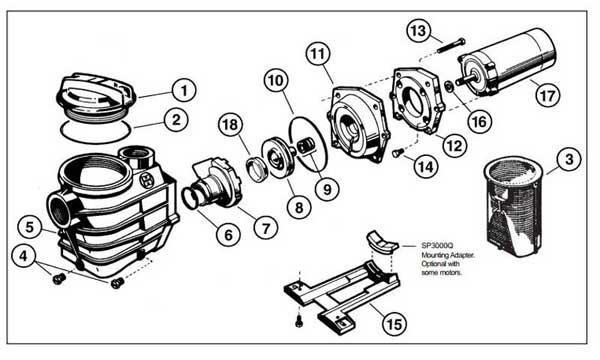 Parts Diagram Hayward Super Pump II, Max Rated Motor