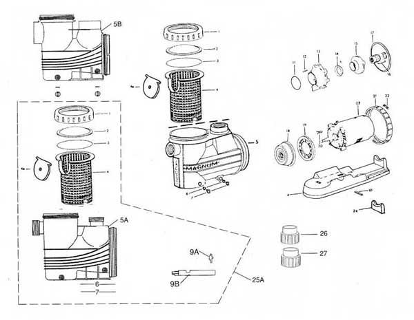 Jacuzzi Magnum Pump, Magnum Force Parts Diagram