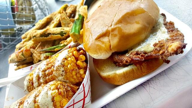 Saw's Soul Kitchen - Sweet Tea Chicken Sandiwch + Fried Corn   My Pretty Brown Fit