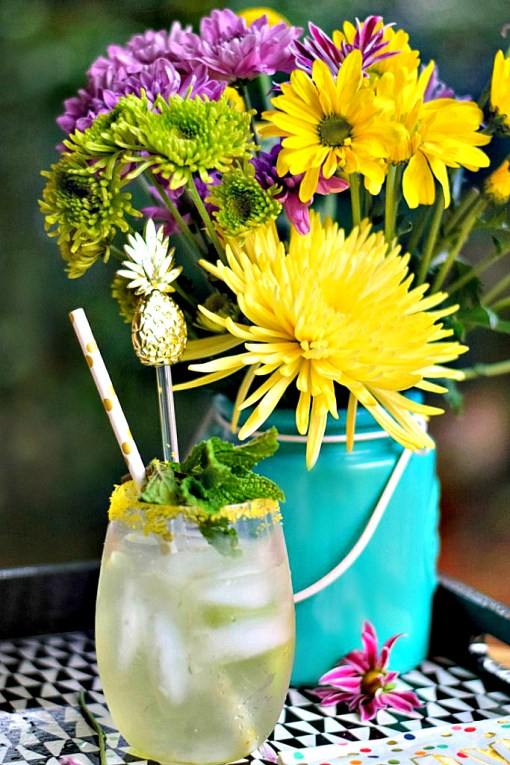 Honey Jalapeño Mint Pineapple Spritzer made with love! Get more recipe inspiration!