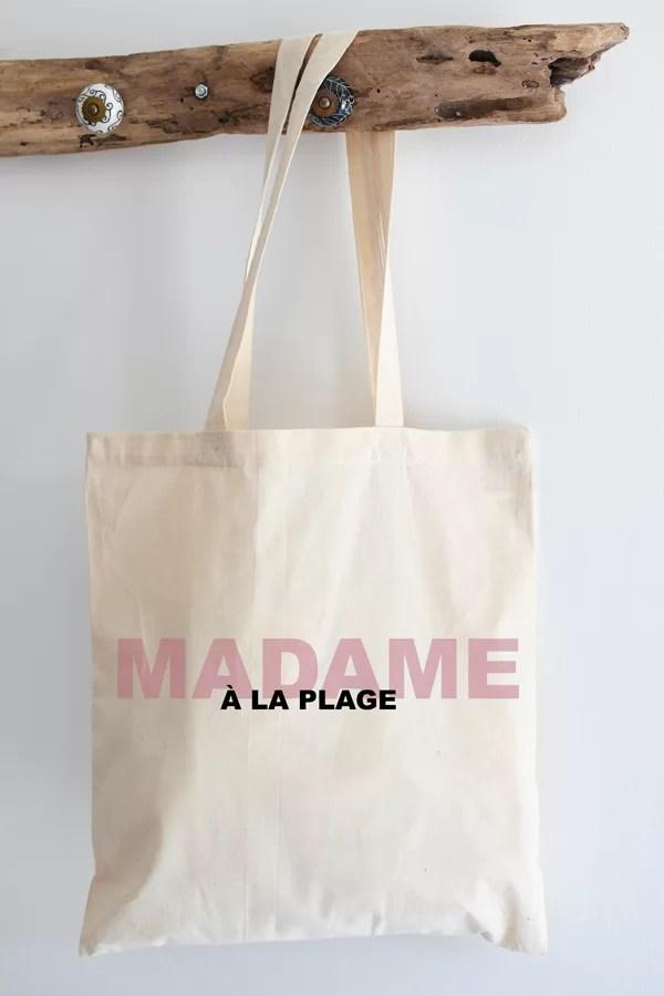 """Tote bag """"Madame à la plage"""" 100% coton"""