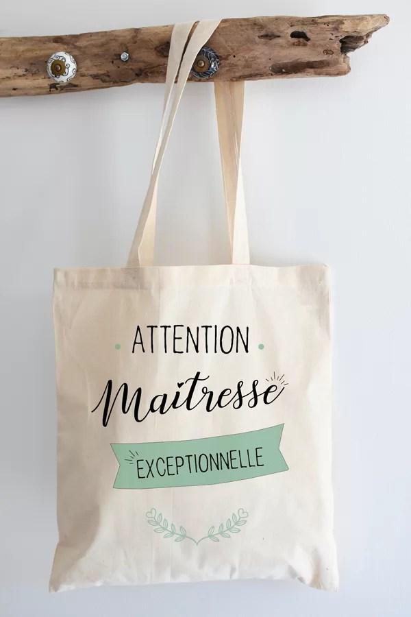 """Tote bag 100% coton """"maîtresse exceptionnelle"""""""