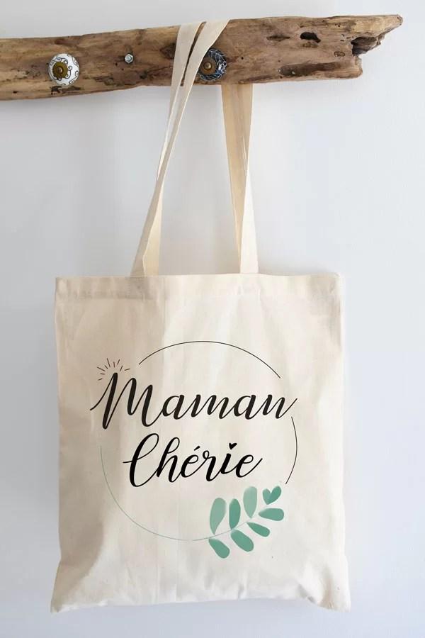 "Tote bag coton ""maman chérie"""