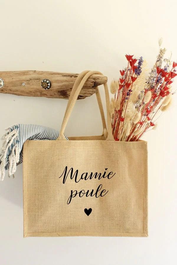 sac cabas en jute - Mamie poule
