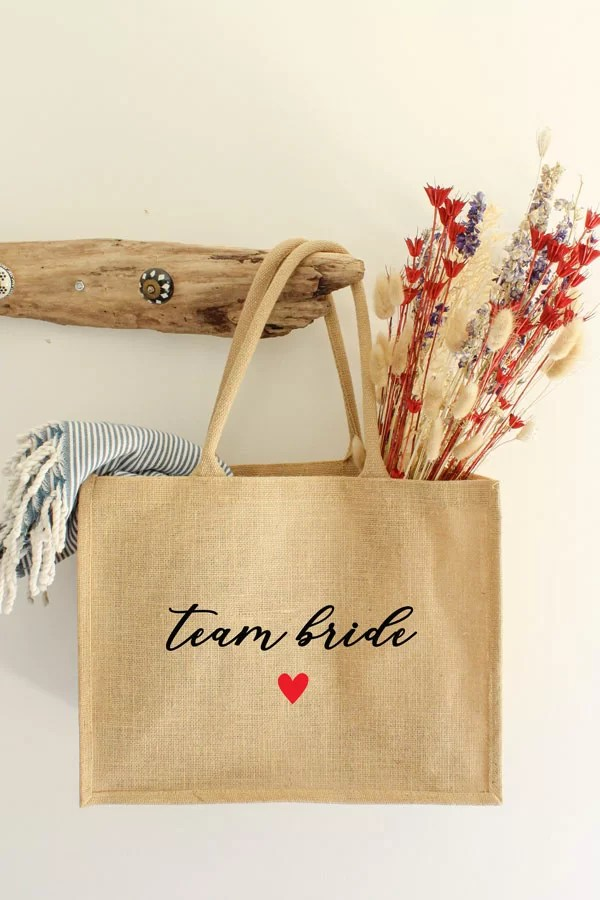 sac cabas en jute EVJF -Team Bride