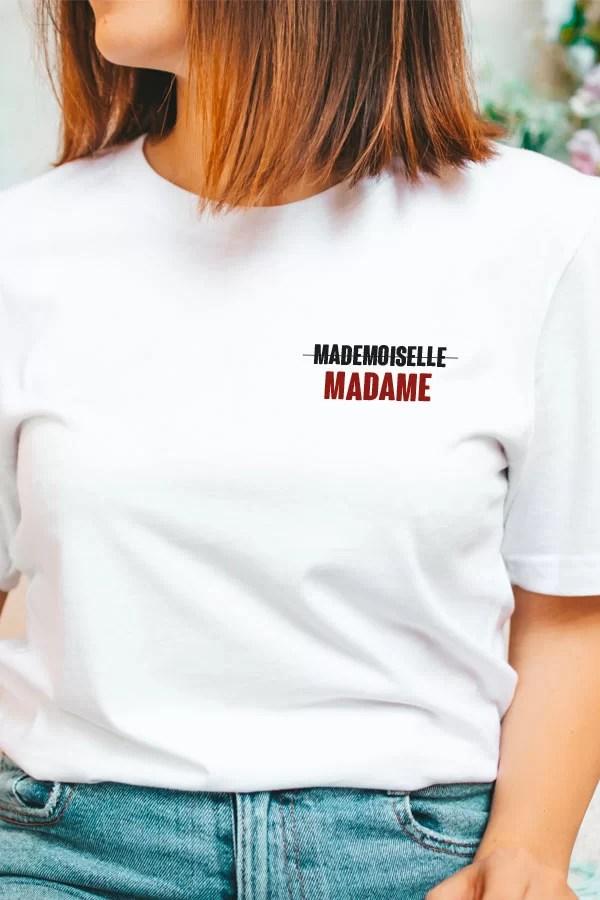 t-shirt pour femme mademoiselle, madame
