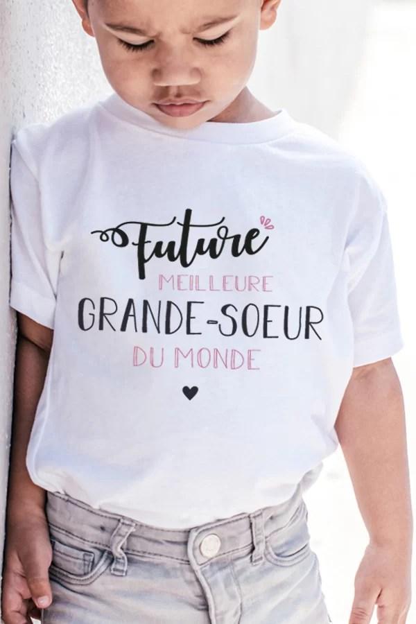 t-shirt pour enfant future meilleure grande soeur du monde