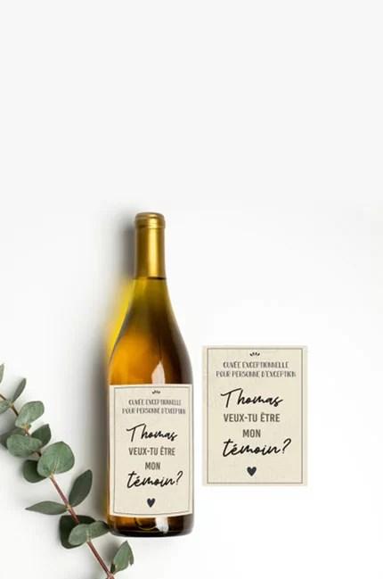 Etiquette bouteille personnalisée - demande témoin de mariage