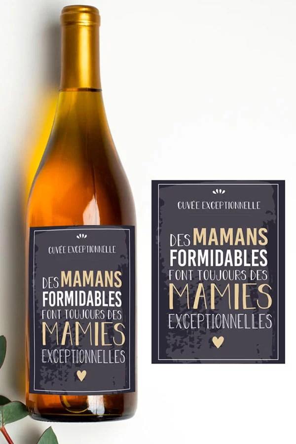 annonce grossesse mamie - étiquette bouteille