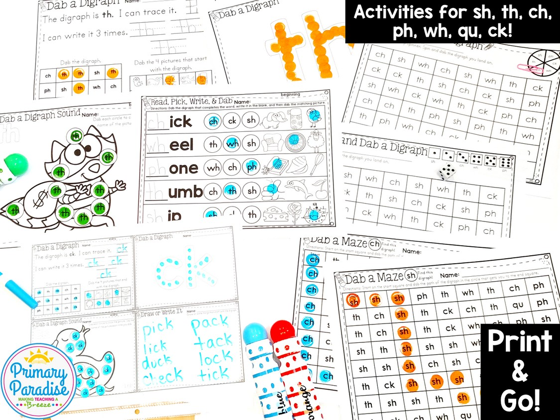 Digraph Activities Dab And Learn Practice Worksheets