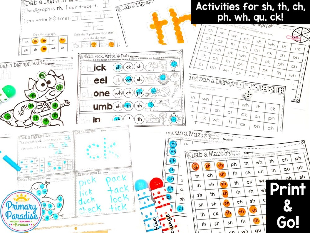 medium resolution of Digraph Activities: Dab and Learn Practice Worksheets