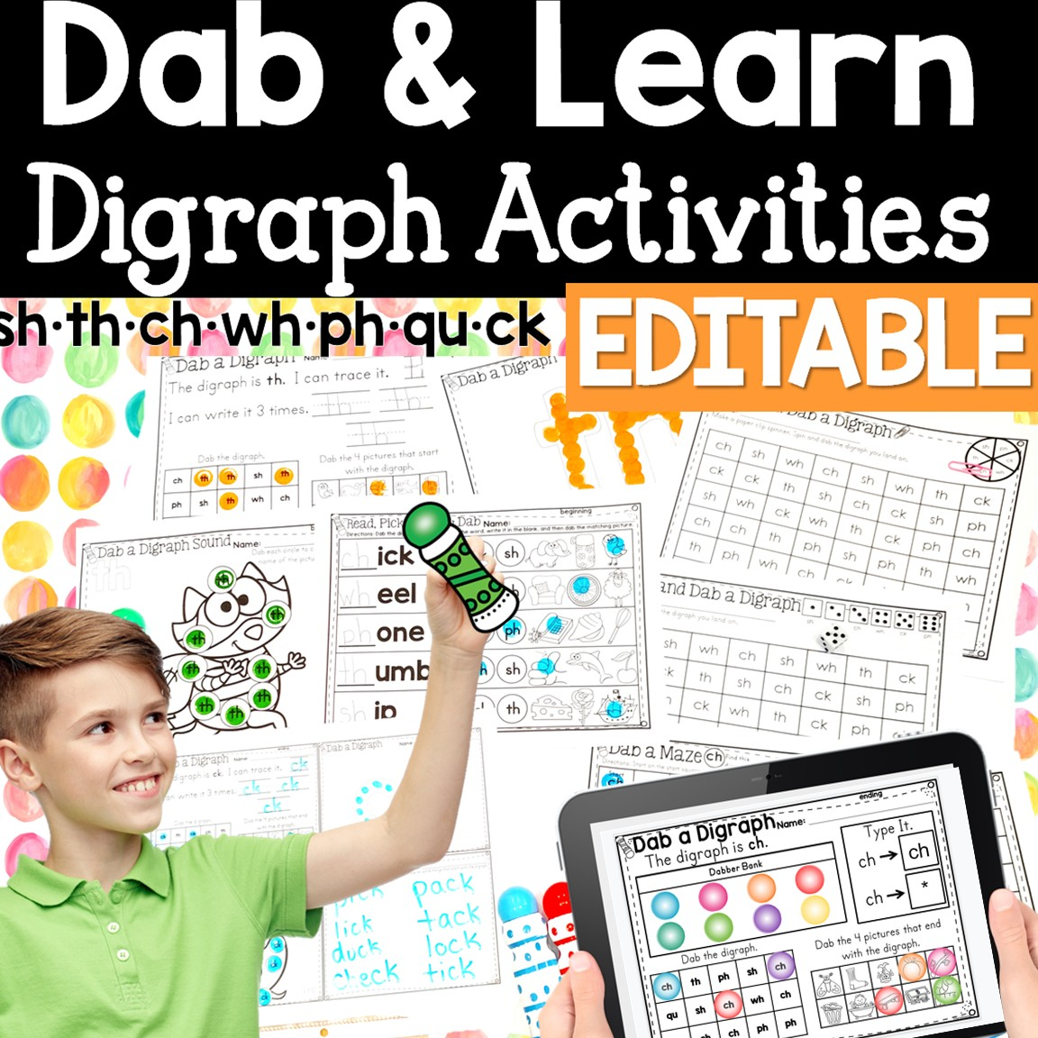 hight resolution of Digraph Activities: Dab and Learn Practice Worksheets