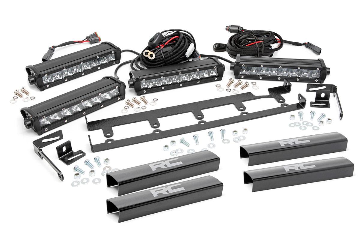 8 Inch Chrome Series Vertical Led Light Bar Grille Kit 4
