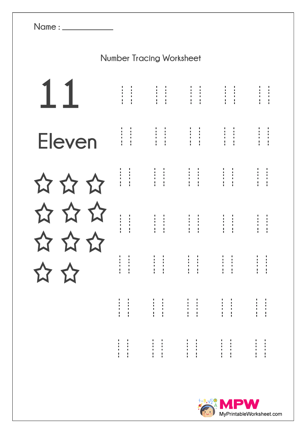 Number Tracing Worksheets 1-20, Dotted Line Number Tracing