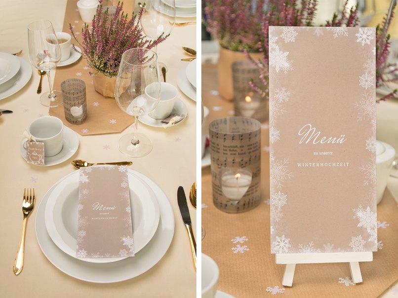 Romantische WinterTischdeko fr die Hochzeit im Vintage