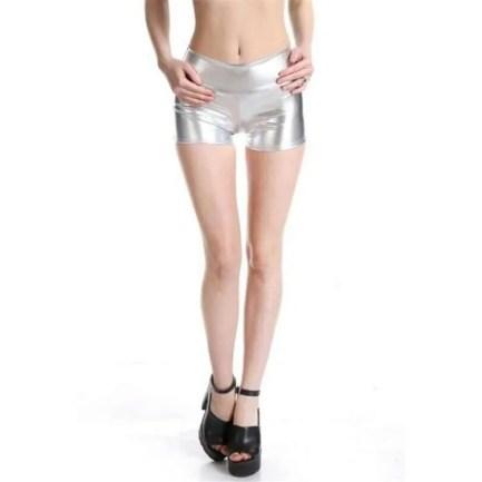 Silver Metallic Shorts