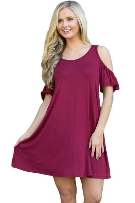 Dress Cold Shoulder Short Burgundy