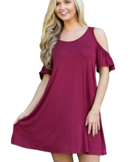 Dress-Cold Shoulder Summer Swing-Plus Size