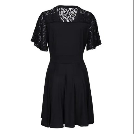 Dress Lace Short Sleeve Mini Plus Size