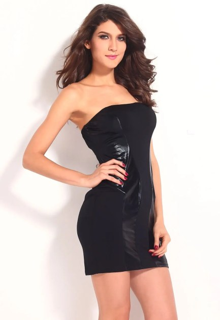 Dress Leather Panel Strapless Mini
