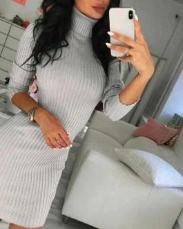 Turtle Neck Sweater Dress-Rib Knit-Women-Fashion-Black, Gray or Pink-Size 10/12