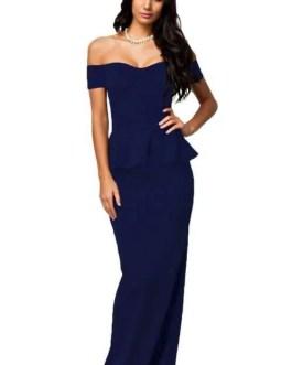 Peplum Maxi Dress-Drop Shoulder-Blue – Plus Size XL