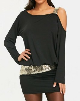 Sequins Long Sleeve Cold Shoulder Blouson Dress-XL