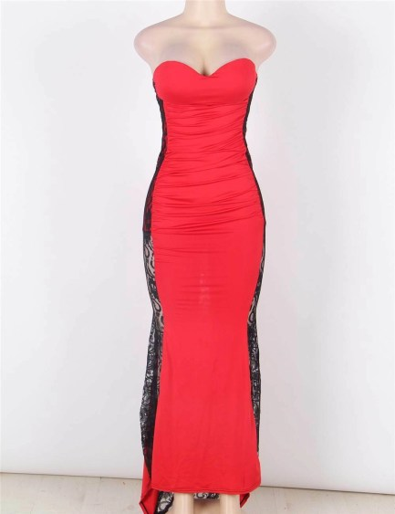 Strapless formal maxi dress in red