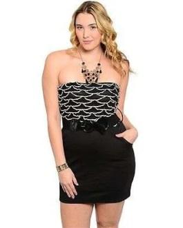 Plus Size Mini Dress Sexy Black Strapless w/Pockets, Includes Belt