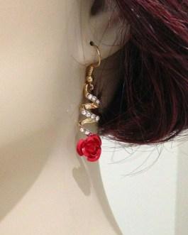 Fashion Rose Rhinestone Drop Earring For Pierced Ears