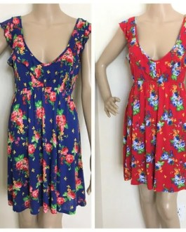 Colorful Floral Sundress In Red Or Blue