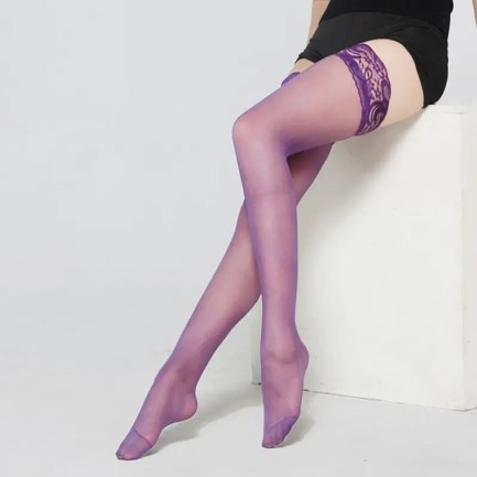 Lace Top Sheer Thigh High Stockings