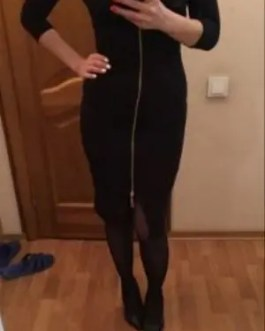 Stylish 3/4 Sleeve Front Zip Bodycon Dress