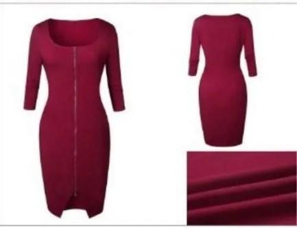 Front Zip Bodycon Dress