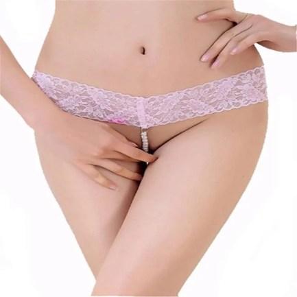 Lace and Pearl Bead Crotch Thong Panties