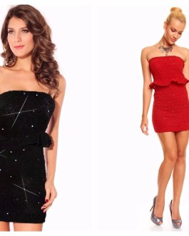 Strapless Mini Peplum Party Dress With Scattered Sequins Accent