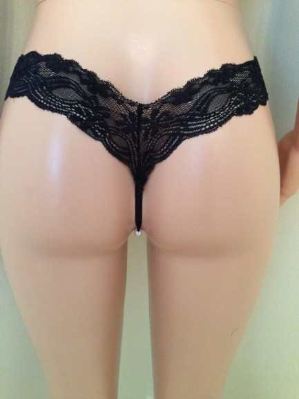 Stretch Lace and Pearl Bead Crotch Thong Panties