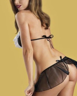 2 pc Naughty French Maid Costume Lingerie With Matching G-String Panties